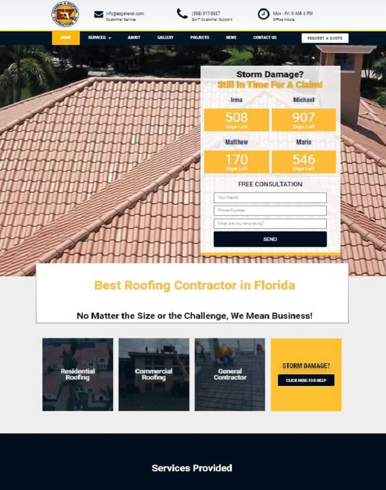 roofing business website